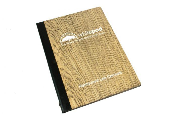 bespoke wooden menu holder wine list