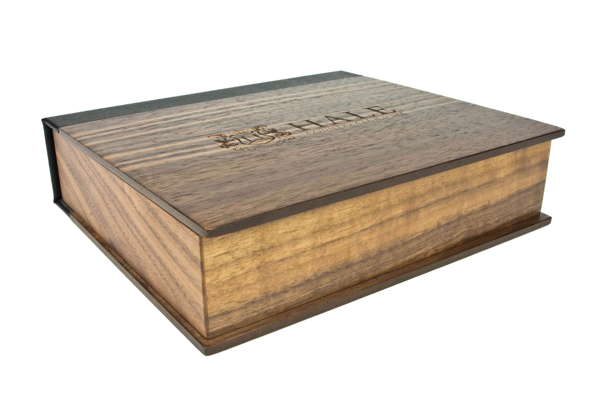 hale bespoke wooden folding lid presentation membership box laser engraving corner detail