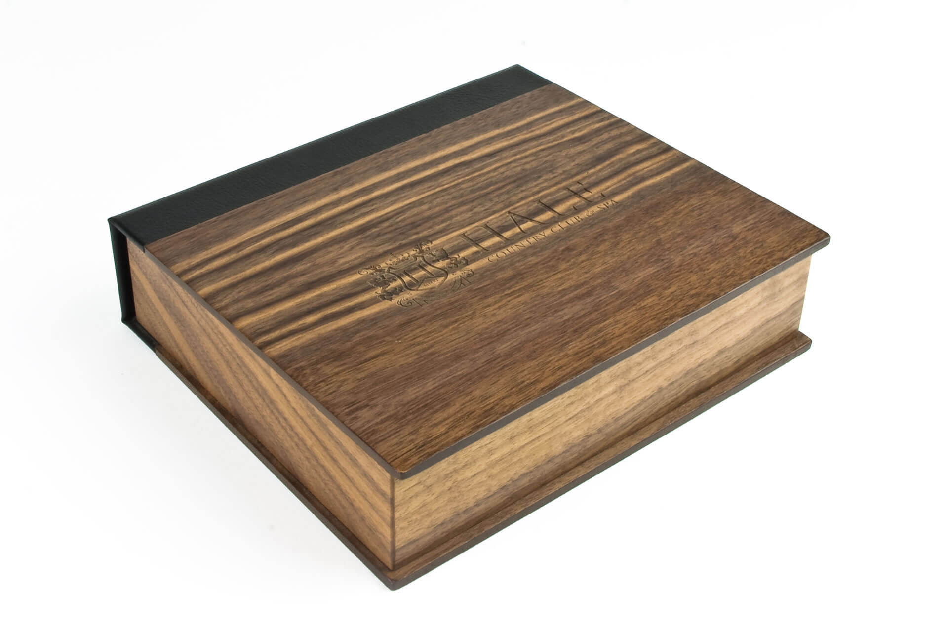 hale bespoke wooden folding lid presentation membership box closed lid detail
