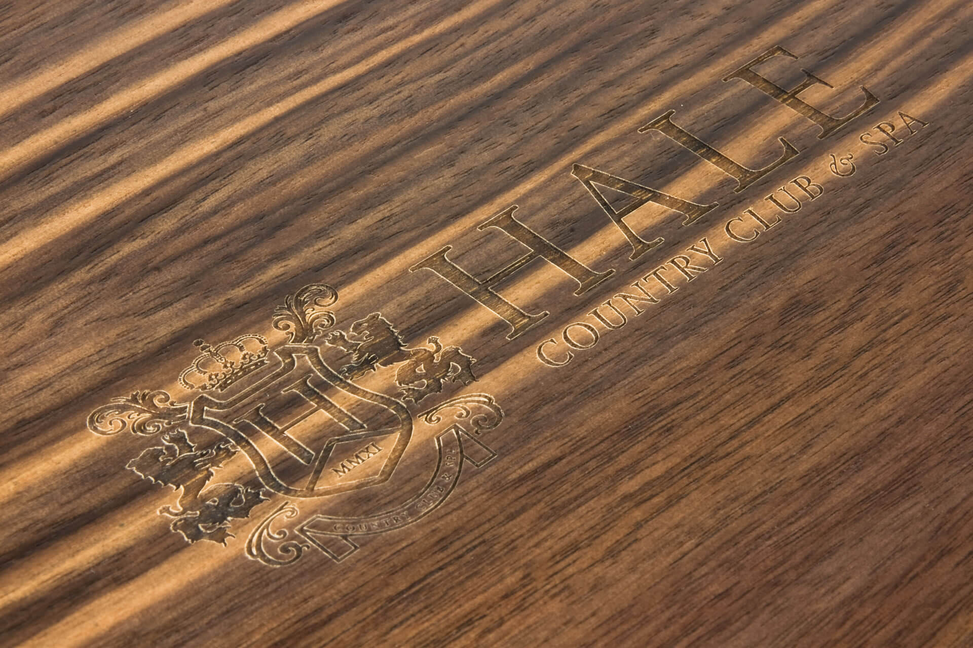 hale bespoke wooden folding lid presentation membership box laser engraving detail
