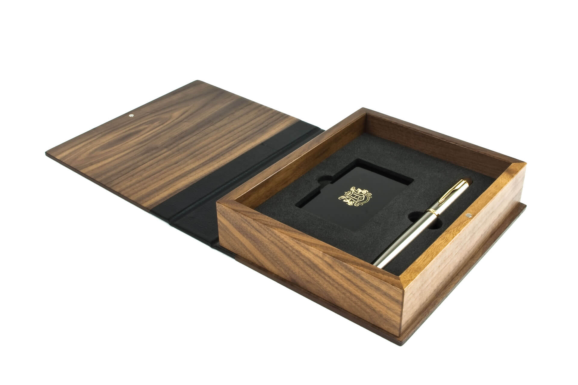 hale bespoke wooden folding lid presentation membership box open lid profile detail