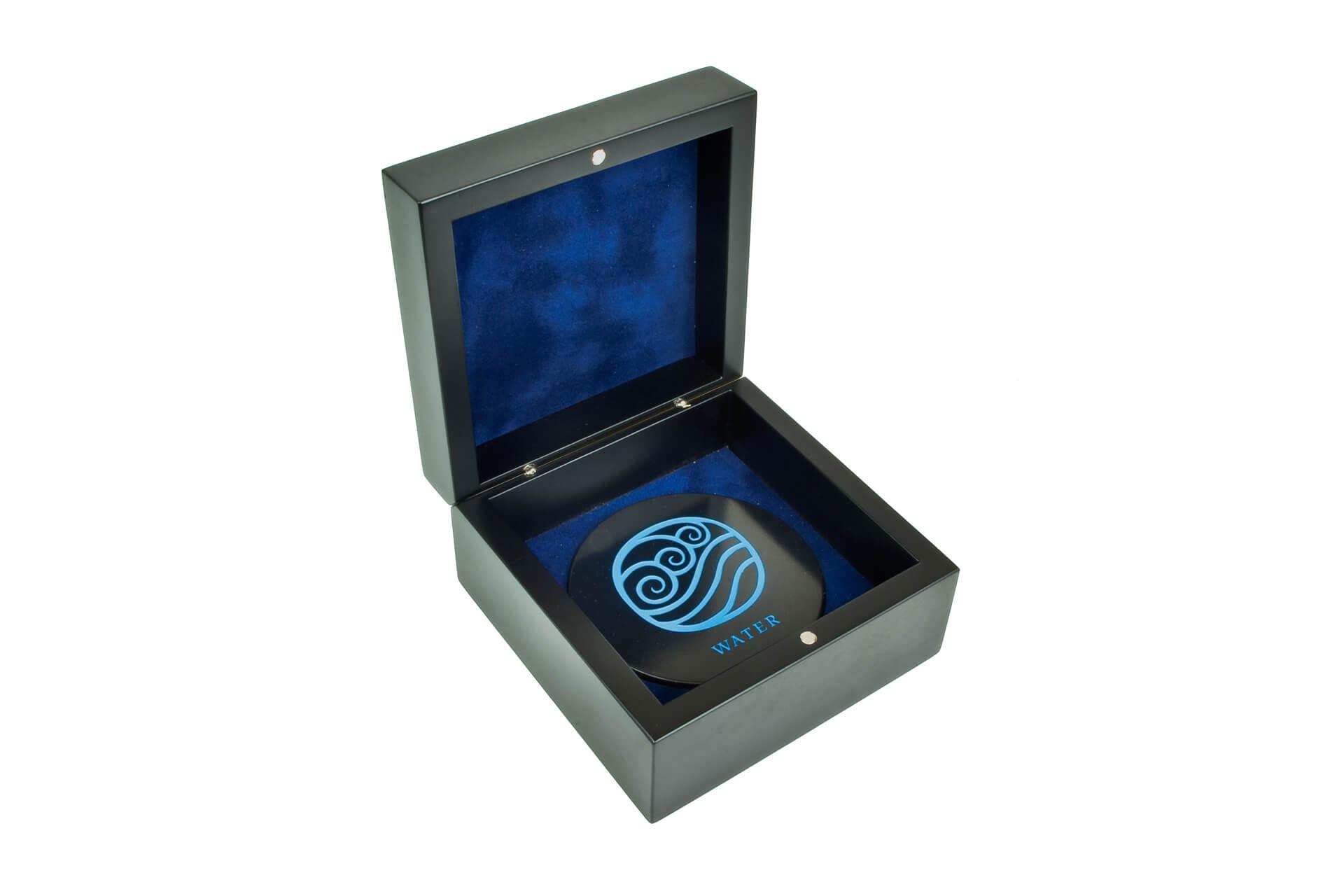 bespoke wooden car wax packaging laser engraved blue infill open showing lining