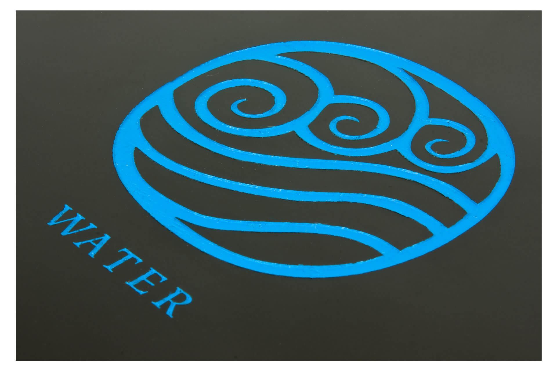 bespoke wooden car wax packaging laser engraved blue infill detail