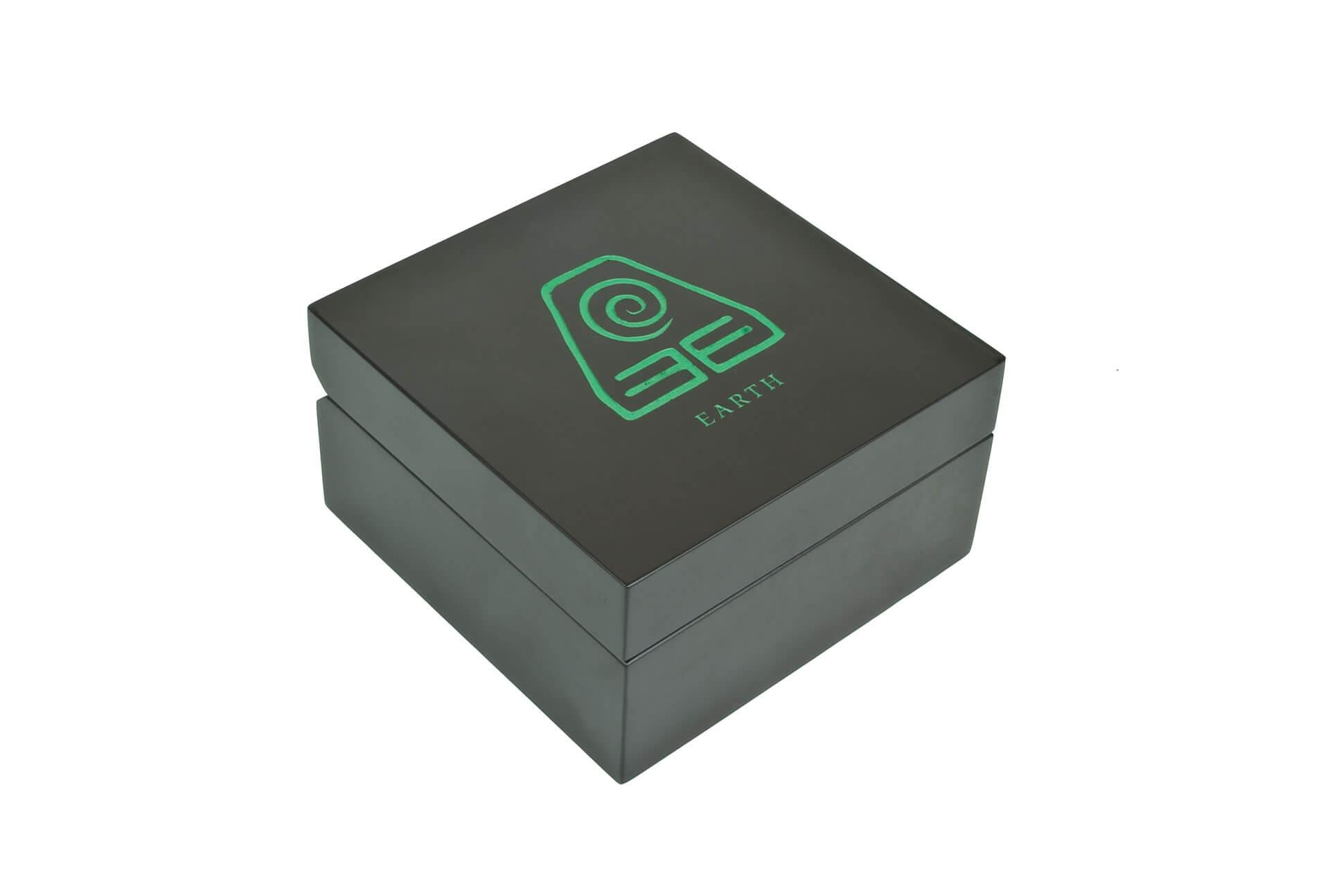 bespoke wooden car wax packaging laser engraved green infill
