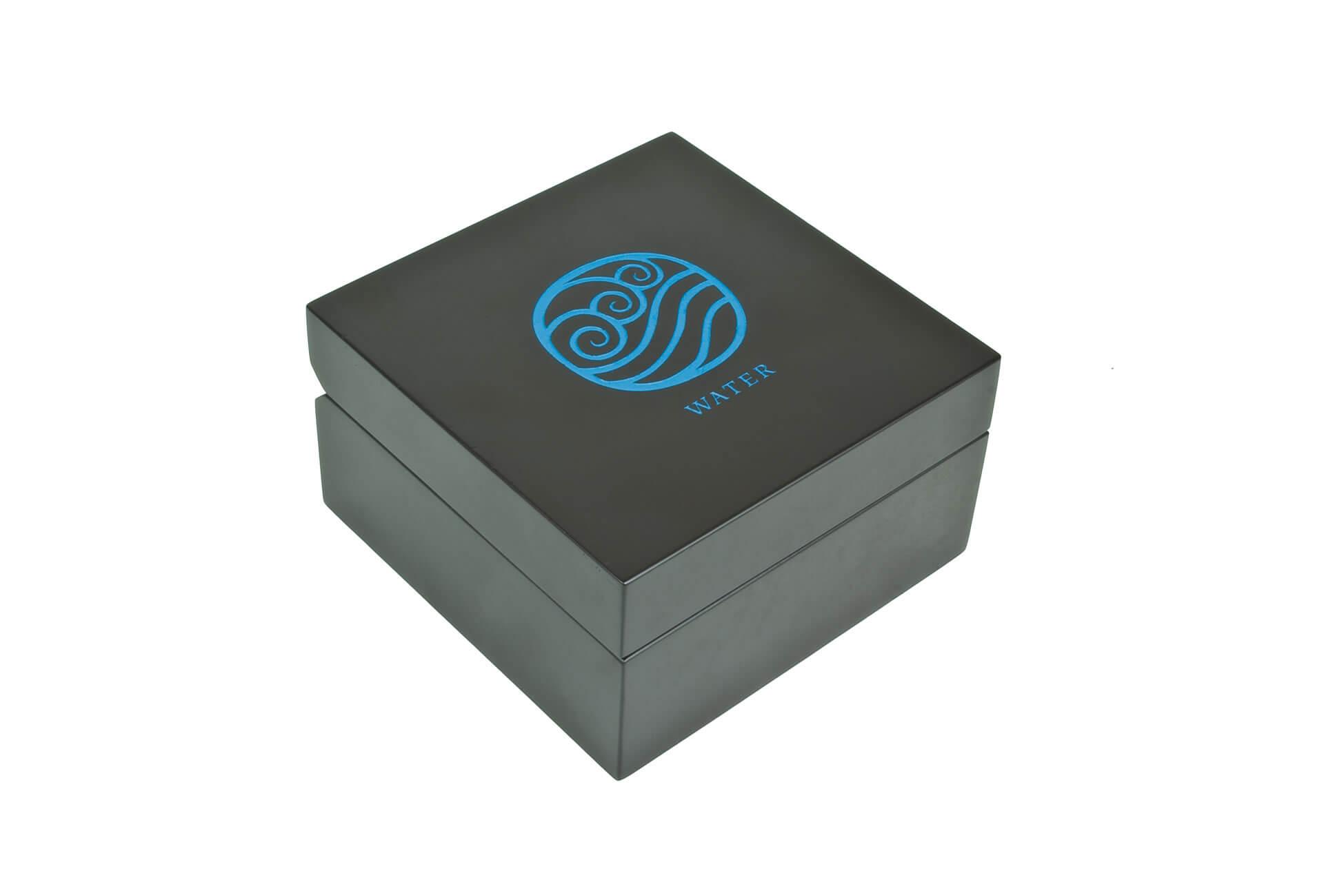 bespoke wooden car wax packaging laser engraved blue infill closed