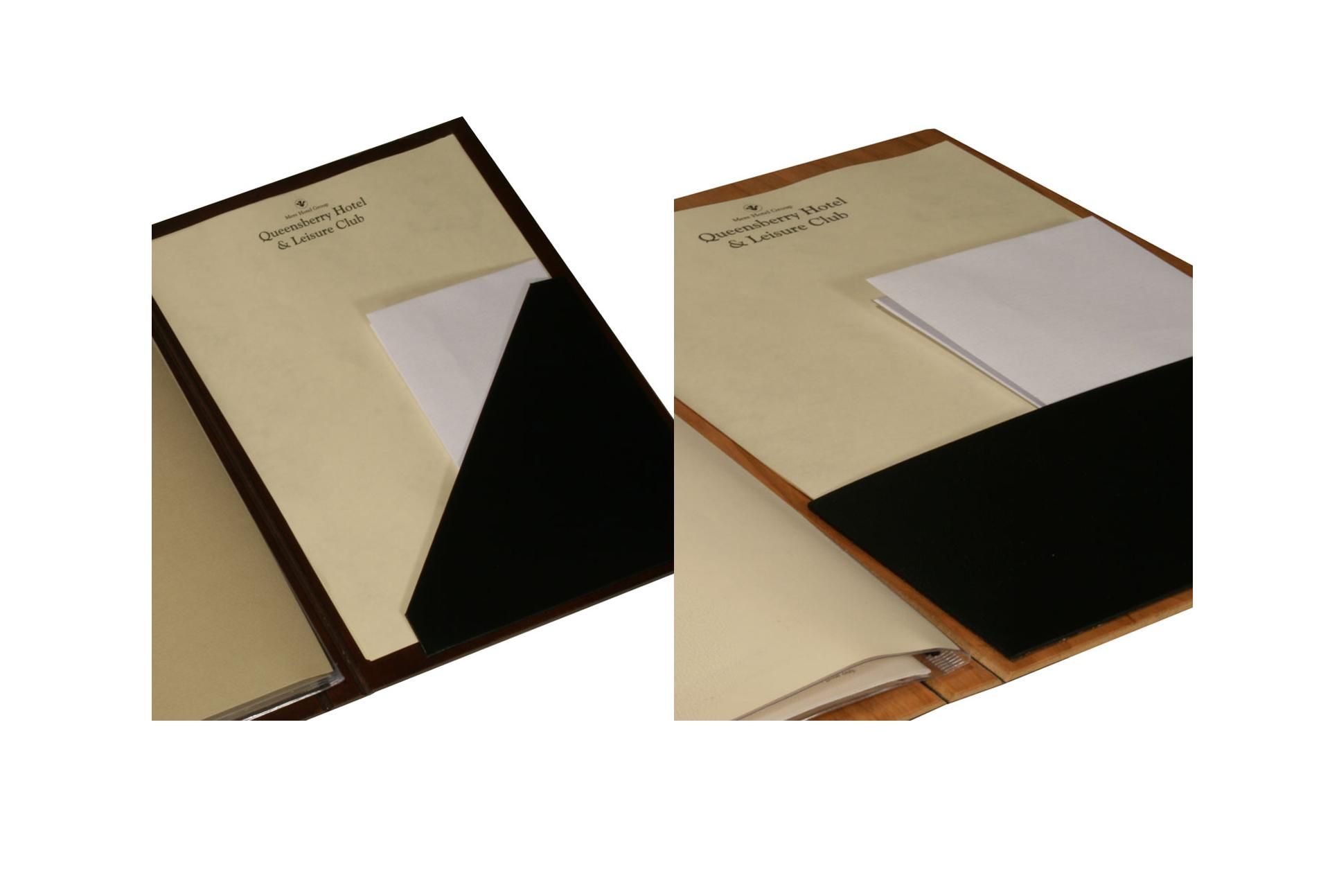 bespoke wooden guest information and presentation folder for hotels