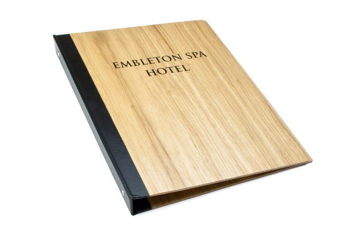 bespoke wooden hotel information folder hotels and spa