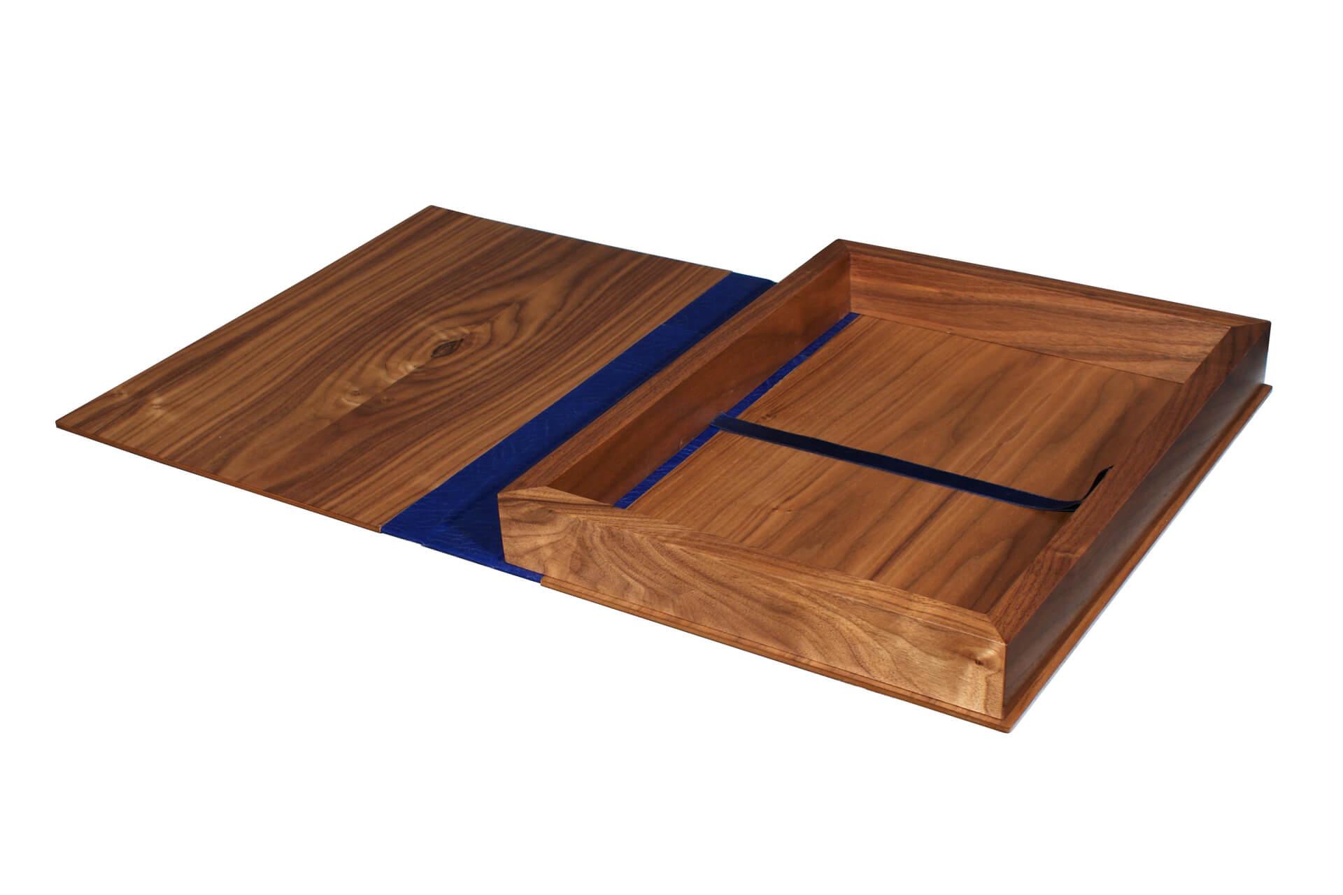 bespoke wooden hotel room folder guest information box