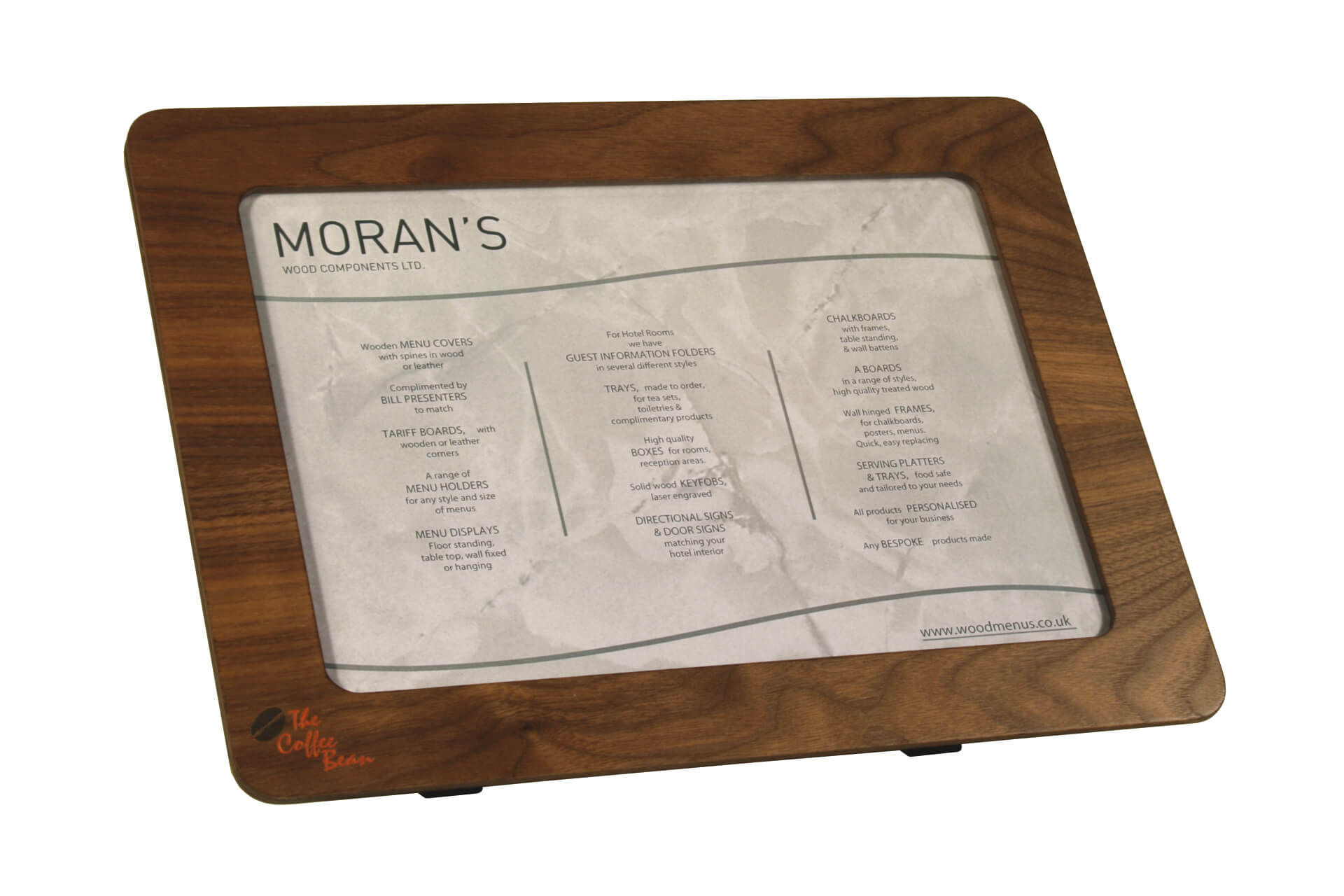 free standing poster display in bespoke wooden frame for point of sale and signage