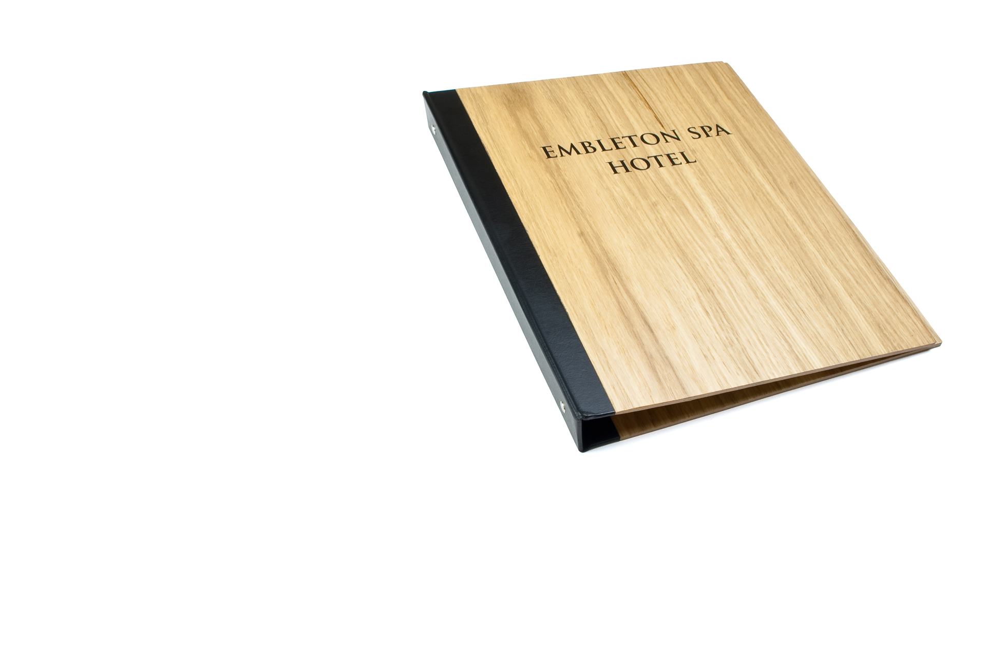 guest info folder spa and hotel binder in cutom made wood