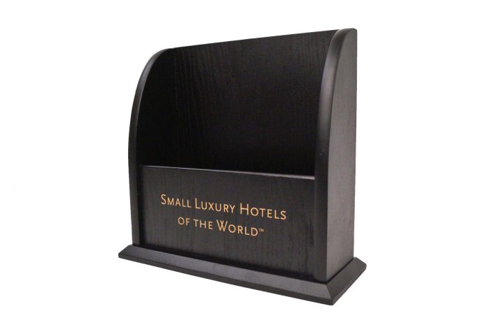 high quality bespoke wood counter top leaflet holder for hotels and leisure