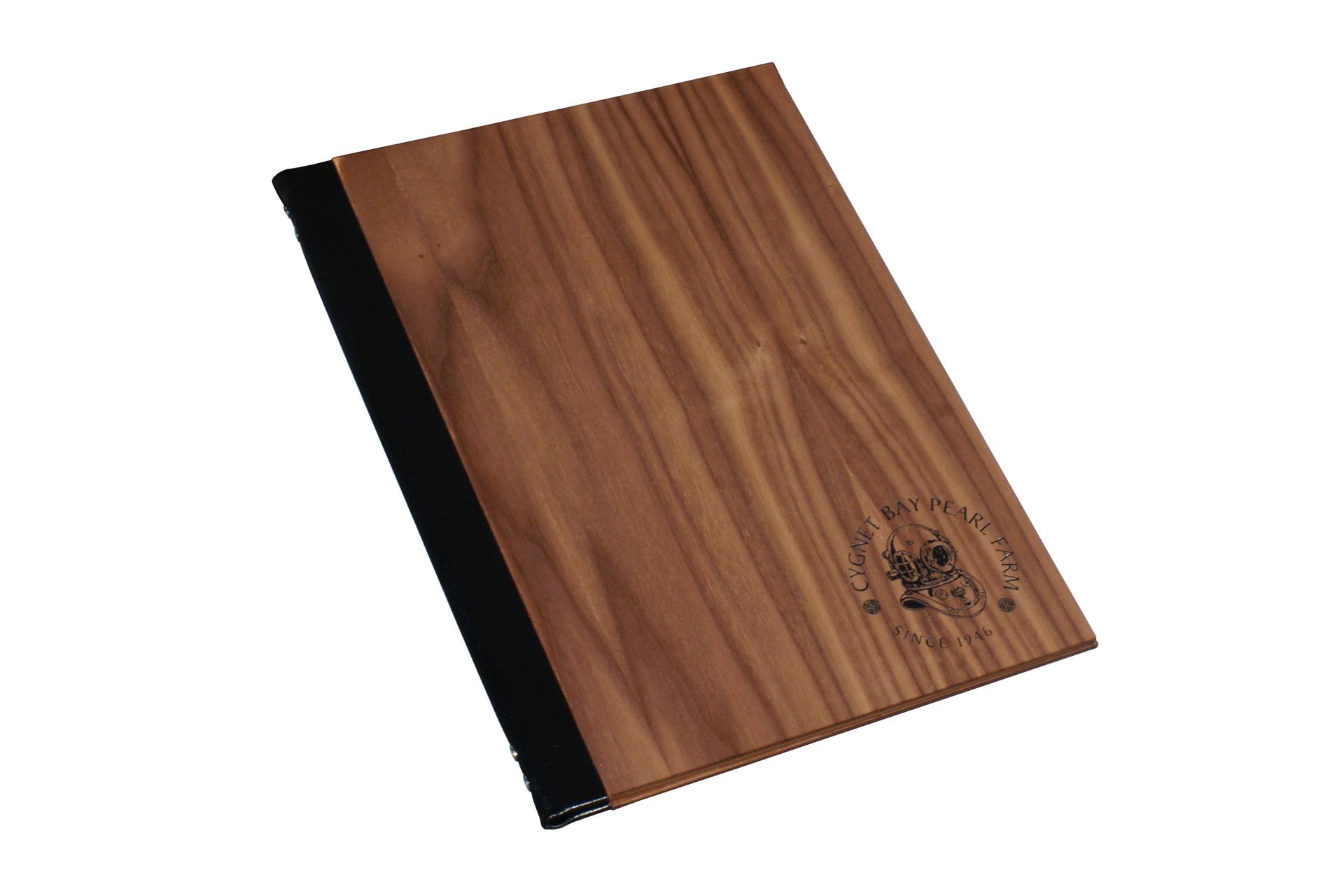 leather spine wood folder for restaurant menus guest information folders wine lists