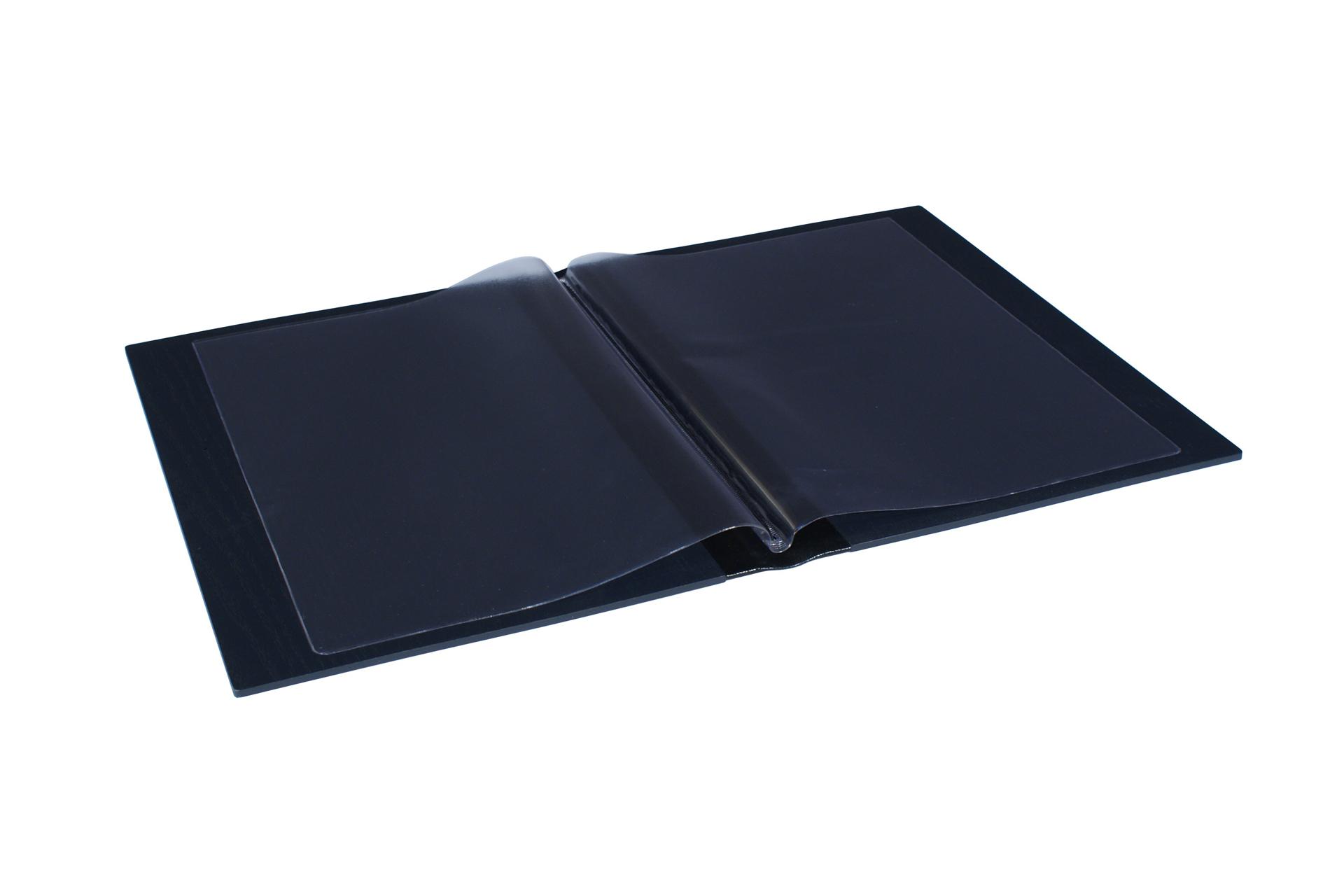 plastic wallet inserts in bespoke wood folders for restaurant menus guest information folders