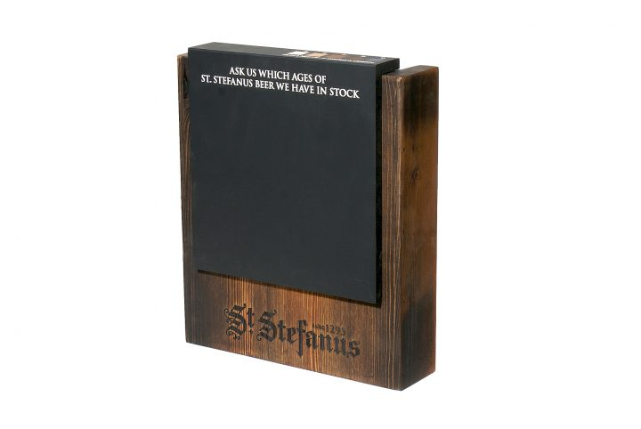 point of sale signage branding block with chalkboard