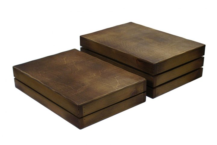 product display rustic riser and carry tray in wood