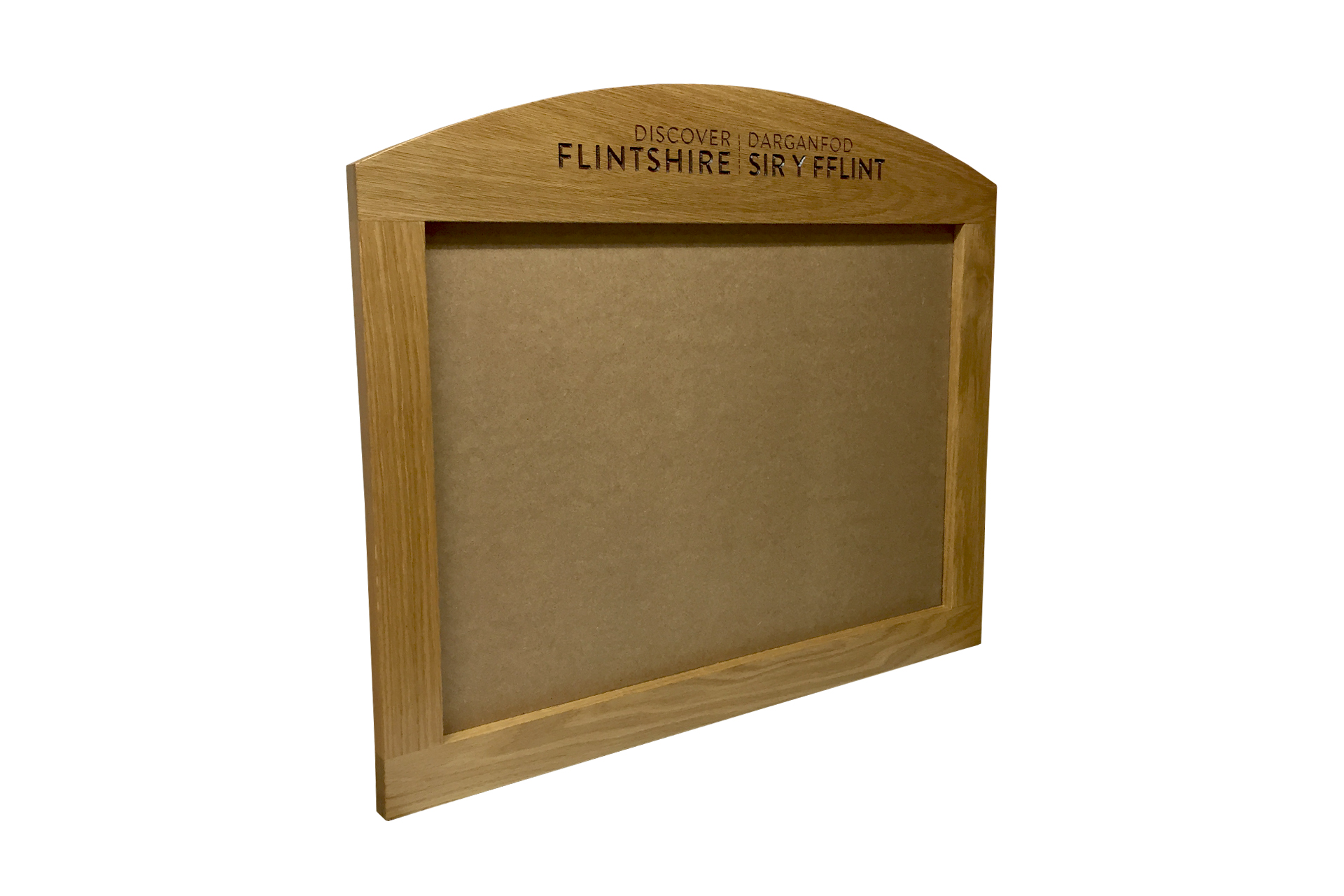 reception poster frame notice board in bespoke wood
