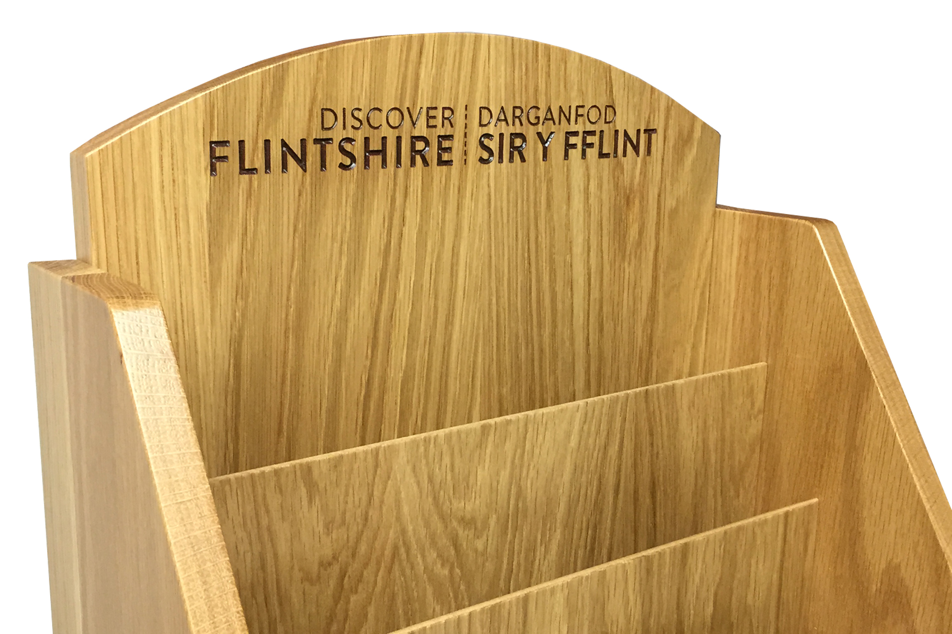 stand alone custom made wood leaflet holder for leisure industry