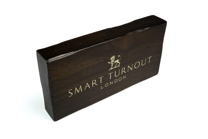stylish wooden display branding block for fashion retail