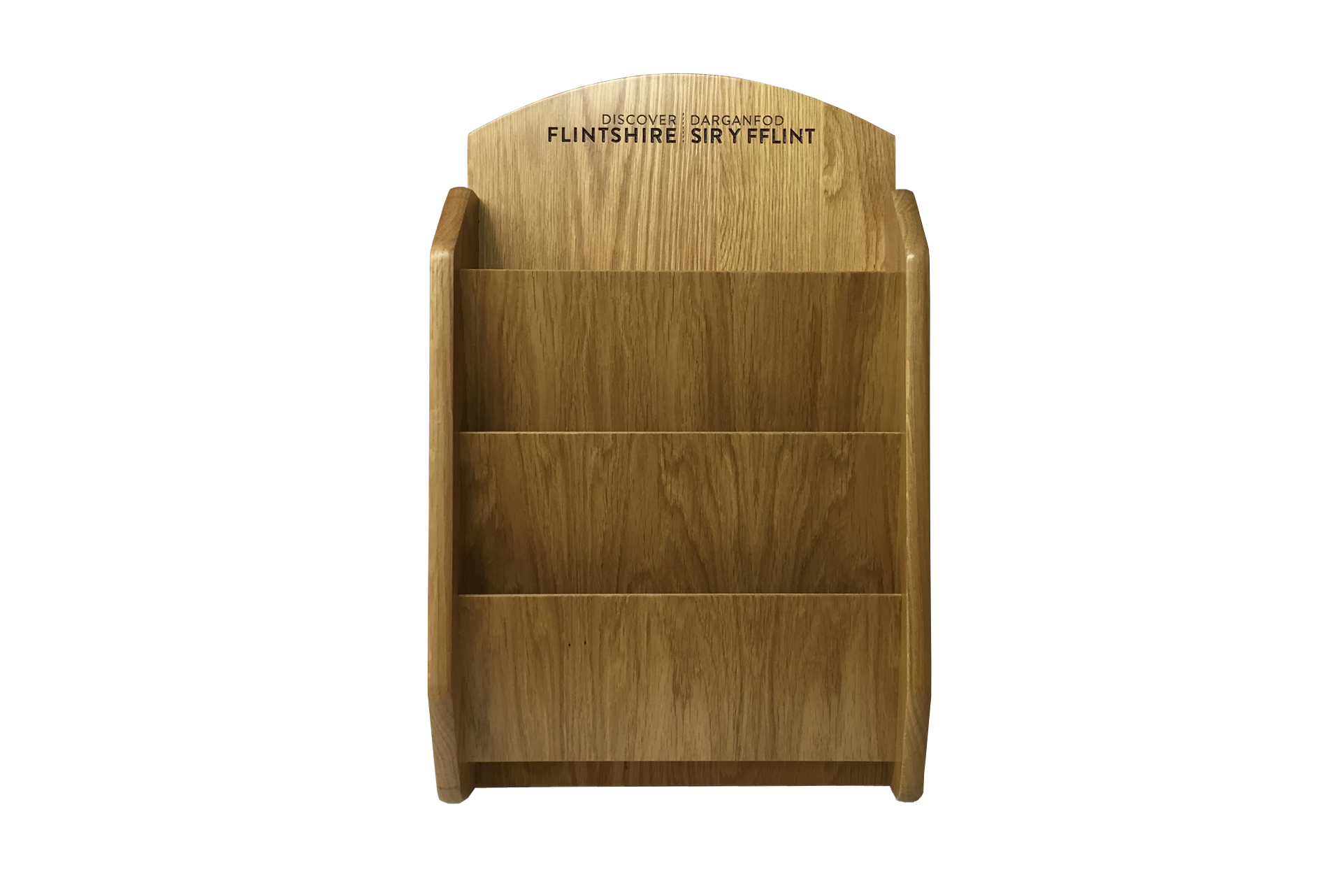 wall mounted tailor made wooden leaflet holder for hotels and shops