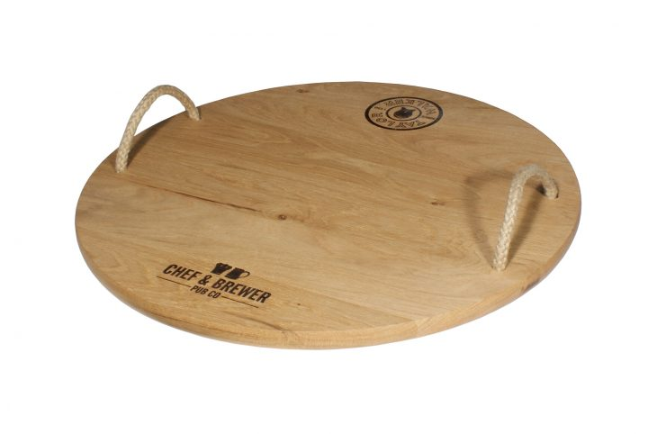wood restaurant and pub serving tray with rope handles branded promotional product